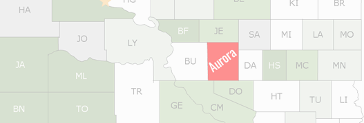 Aurora County Map